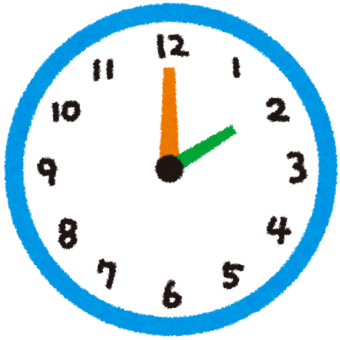 cartoon image of image of clock showing two o'clock in Japan