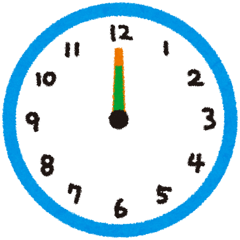 cartoon image of clock showing midday