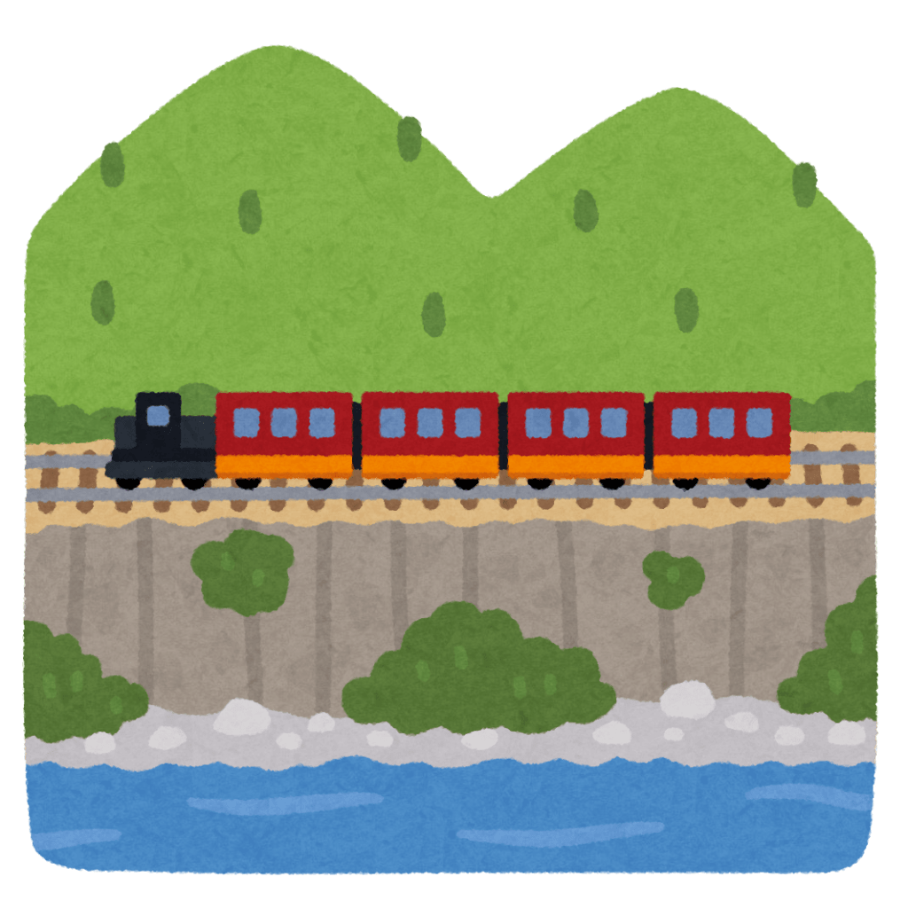Cartoon image of Japanese train crossing in front of mountains
