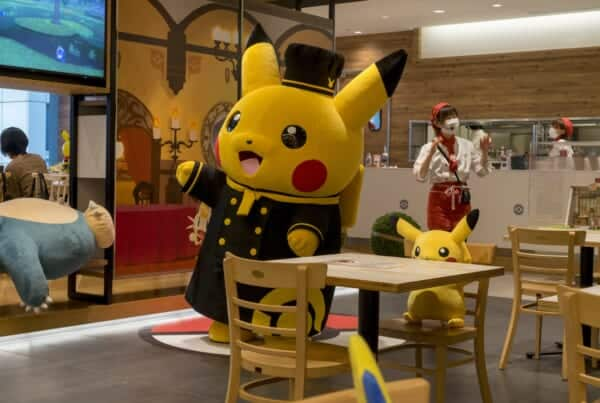 Chef Pikachu dancing at the Pokemon Café in Tokyo.
