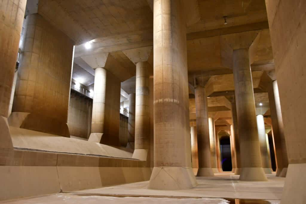 Ryu-Q-kan, underground water diversion project in Tokyo metropolitan area that looks like a temple with its pollars-like water pumps