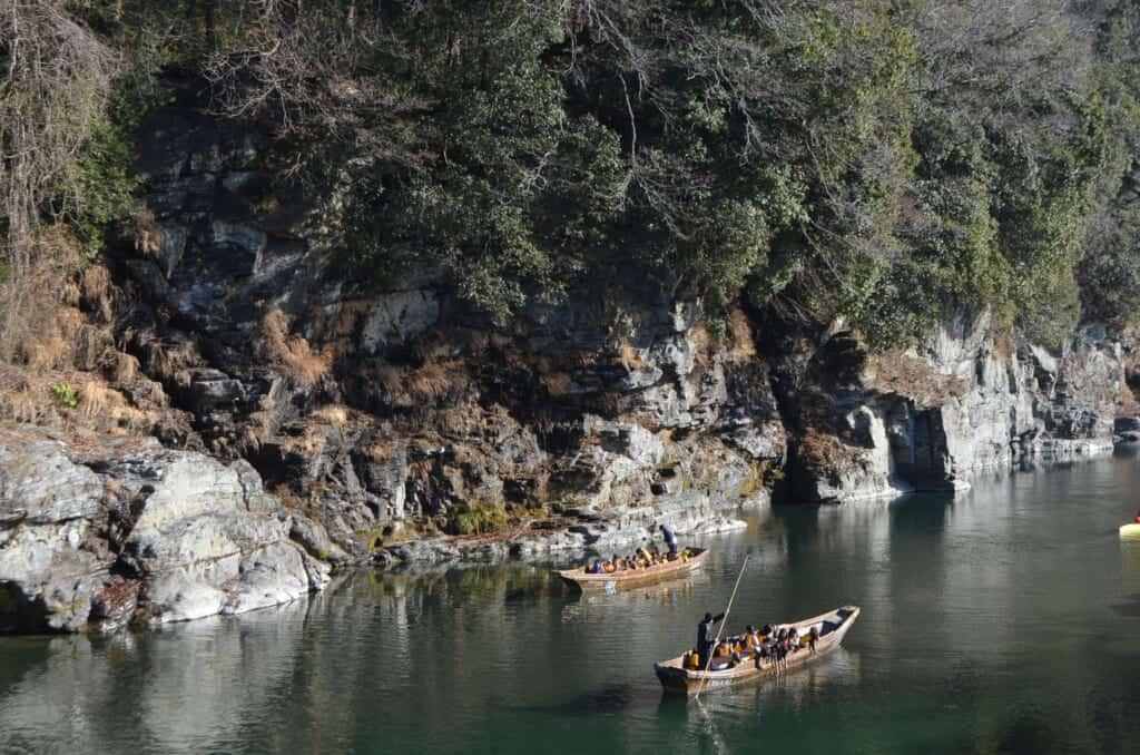 Boat cruising on the Nagatoro river in Saitama Prefecture