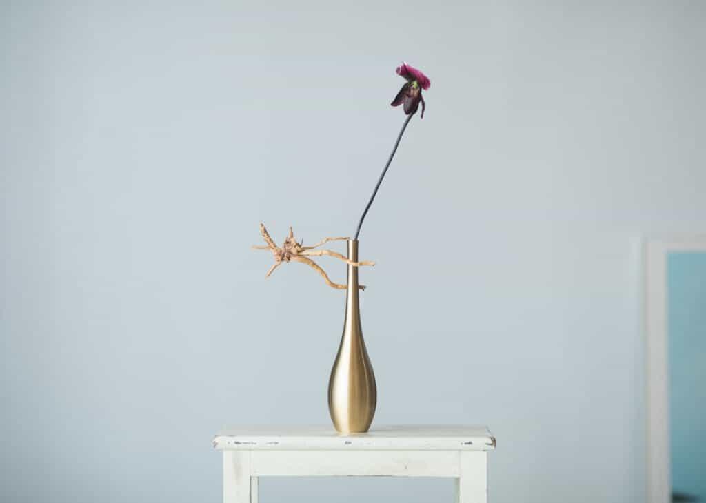 Japanese Brass flower vase produced by nousaku
