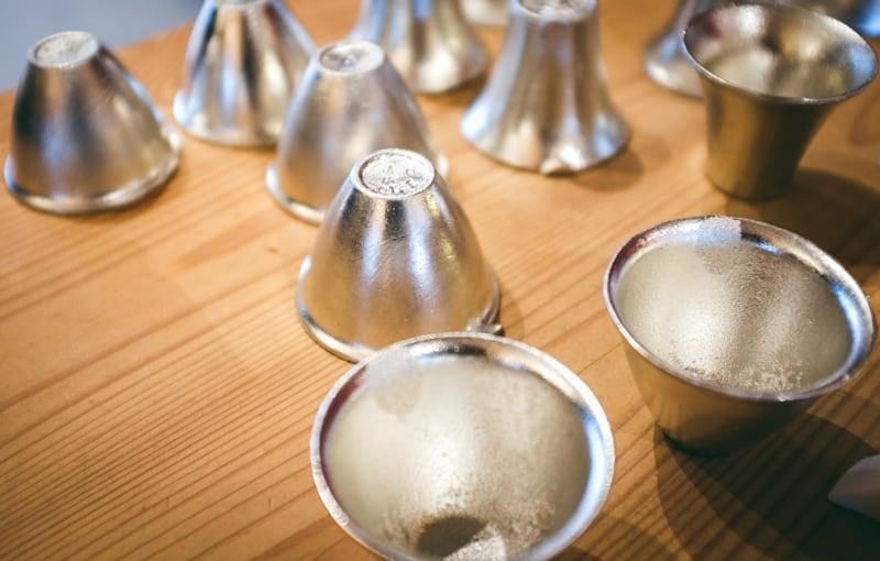 hadmade tin sake cup in nousaku workshop