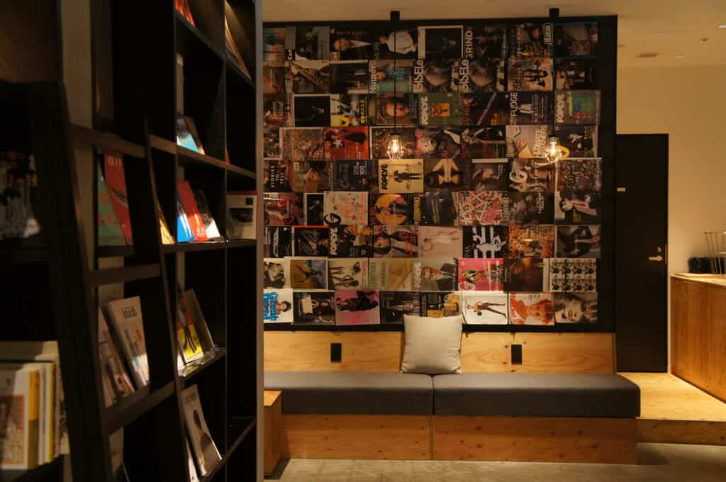A detail of a Book and Bed,  a type of manga cafe