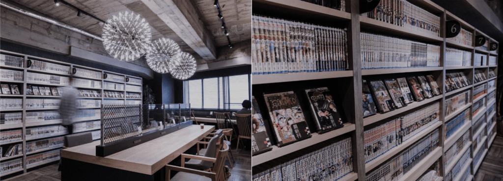 Inside a customa cafe, a manga kissa
