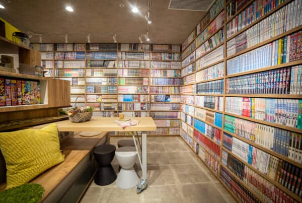 A public espace of a manga kissa in Tokyo
