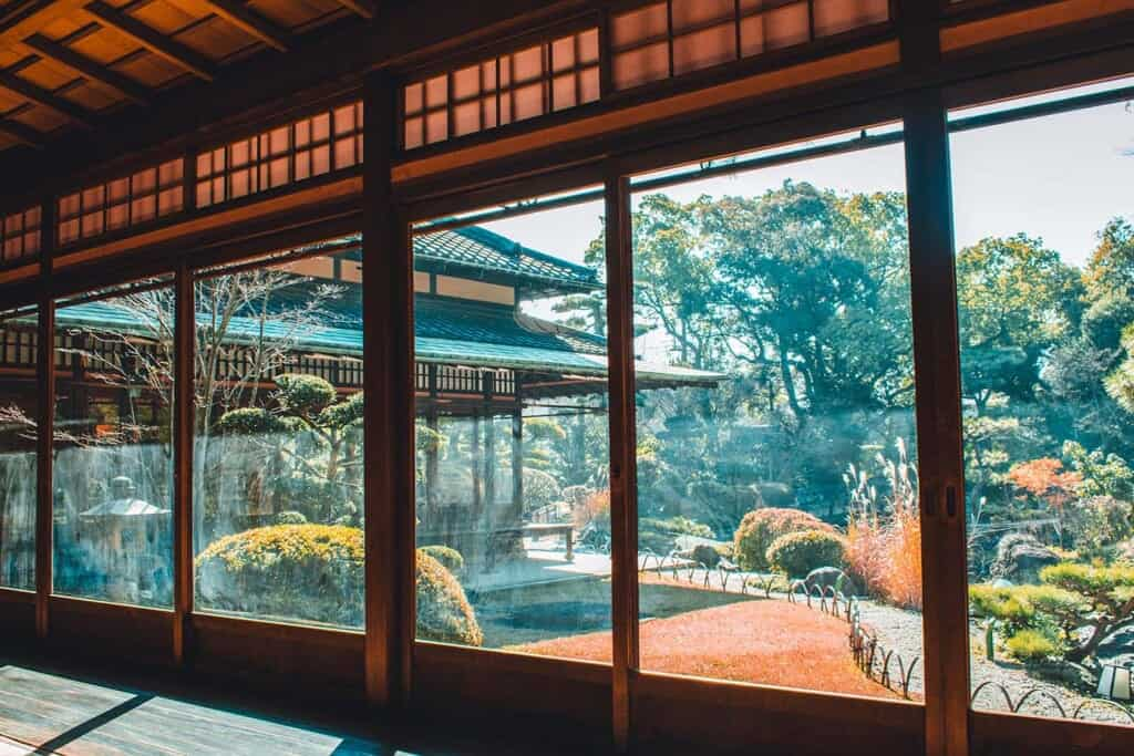 Garden view from inside traditional Japanese restaurant in Sakai, Japan