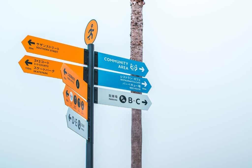 Signs pointing to SENNAN LONG PARK