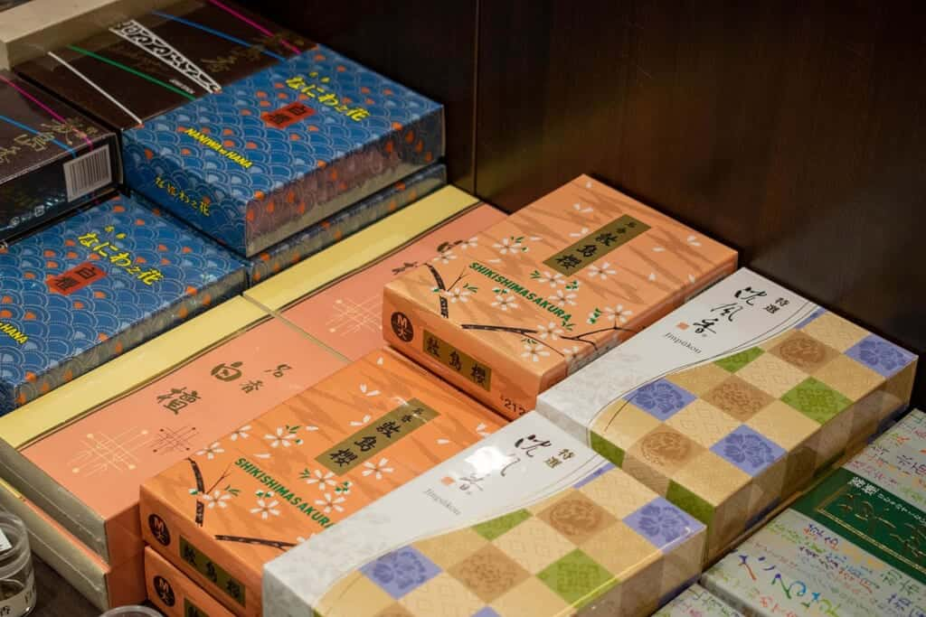 Traditional Japanese incense sold at the museum shop in Sakai, Japan