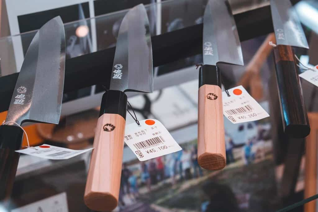 Traditional knives on display in Sakai