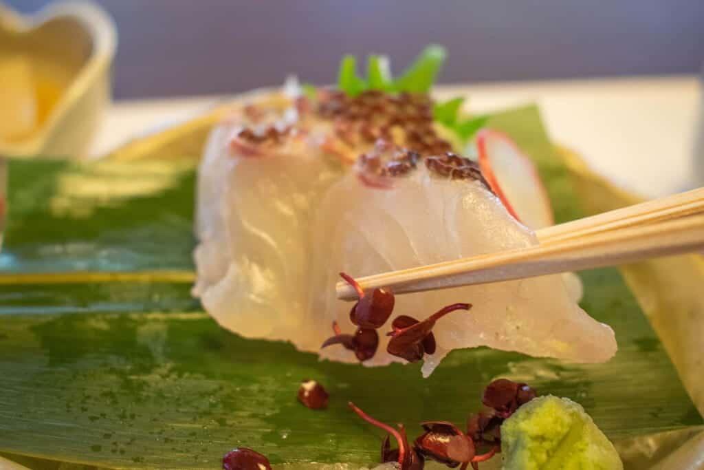 Sashimi in a Japanese restaurant