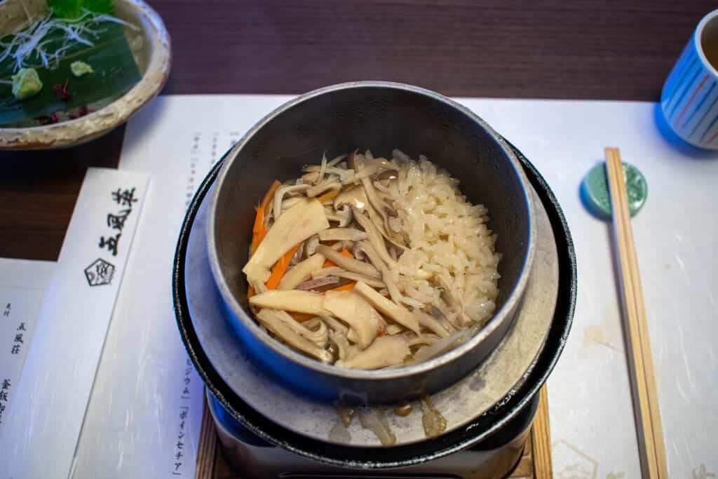 Steaming hot Japanese vegetables over rice