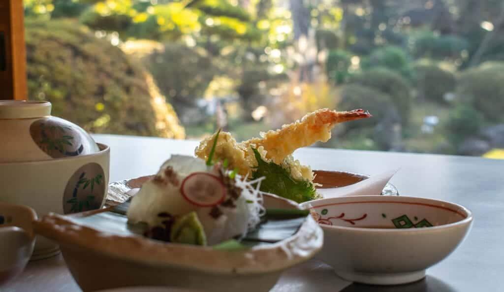 Shrimp tempura in a restaurant