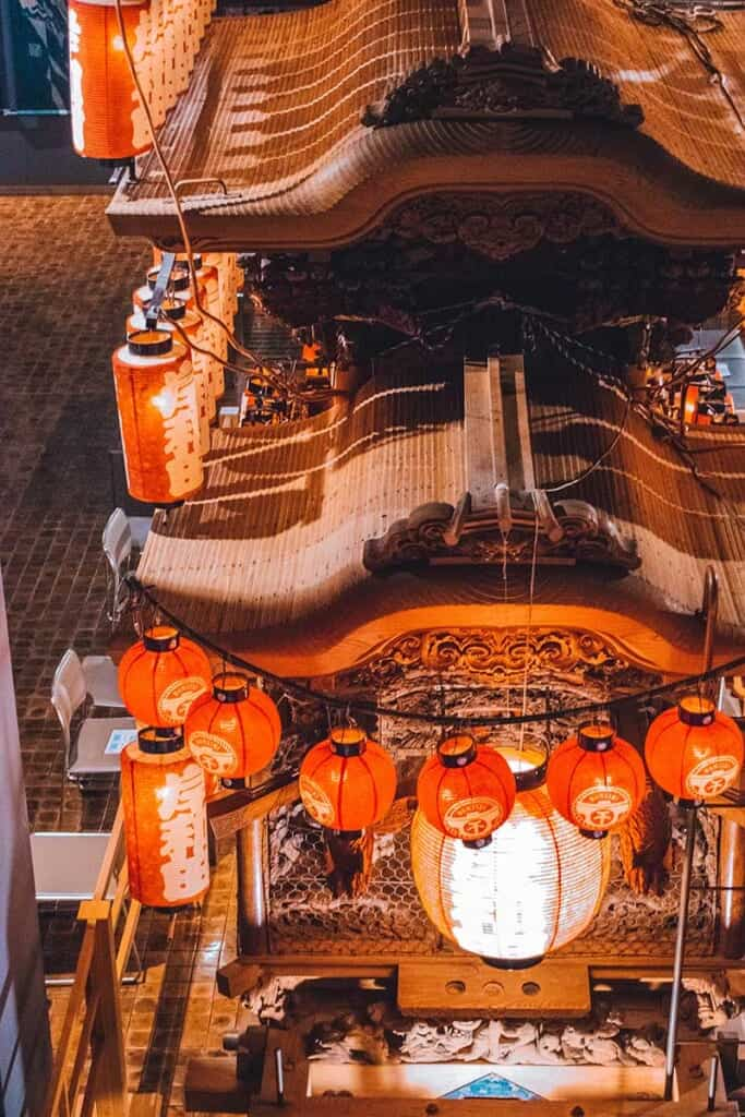 Danjiri festival cart with Japanese lanterns