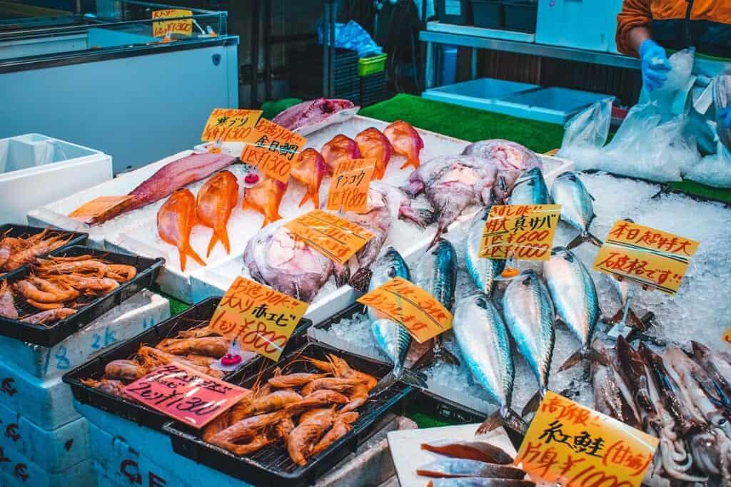 Fresh seafood displayed at market in Osaka, Japan