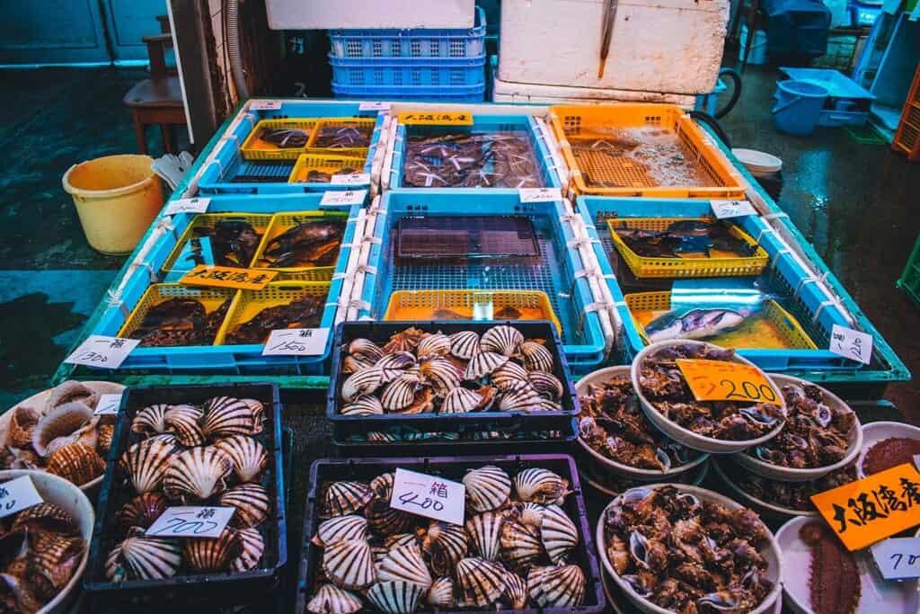 Shellfish at the market in Osaka, Japan
