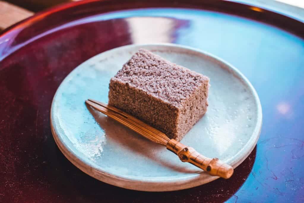 Japanese dessert called Murasame on a plate in Osaka, Japan