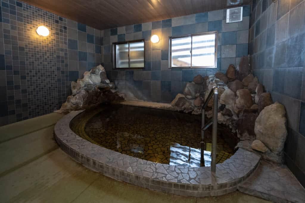 indoor onsen hot spring bath in iiyama nagano