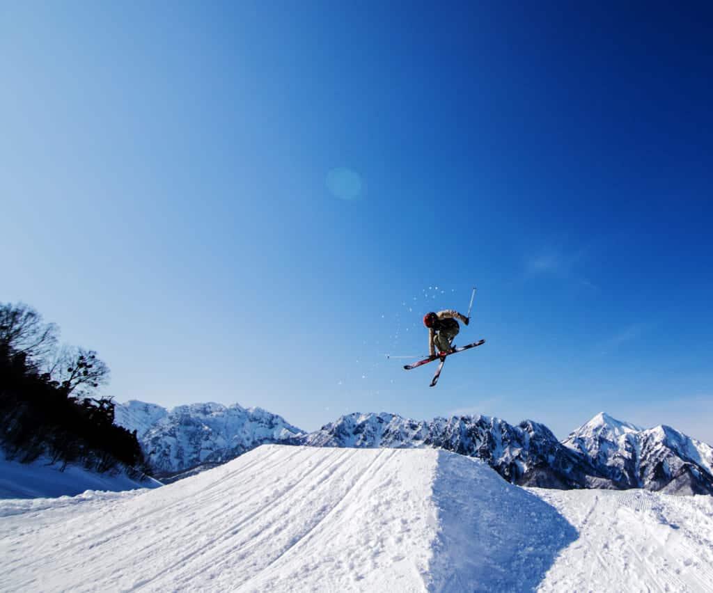 Ski jumping at Togakushi ski resort in Nagano, Japan