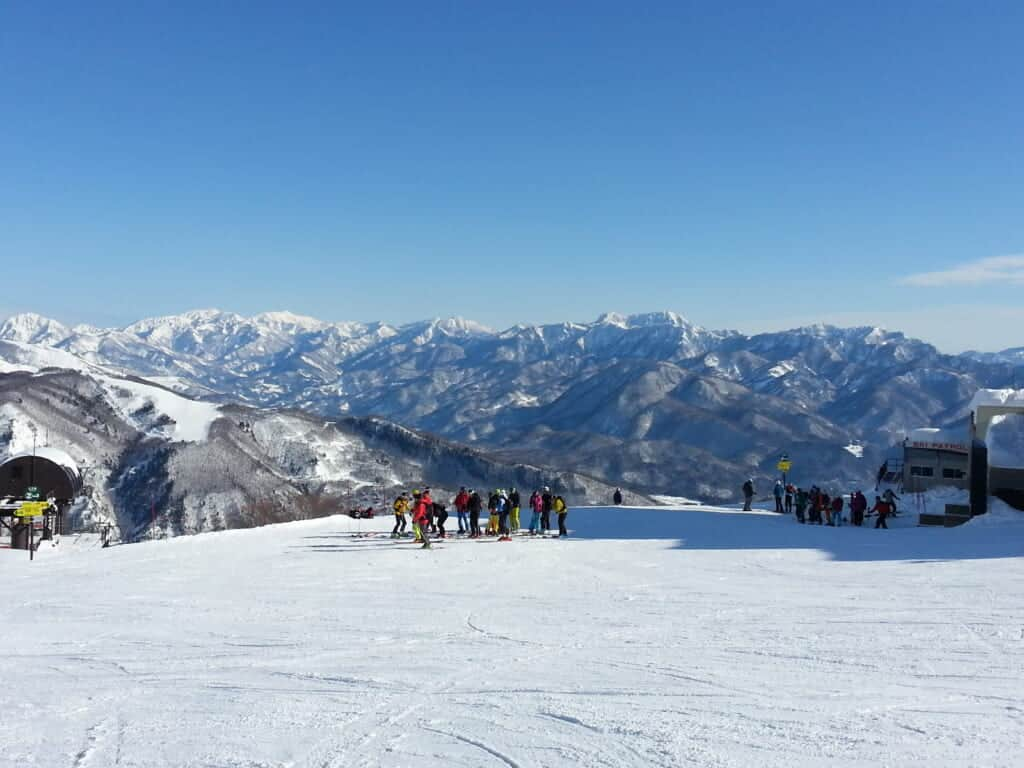 skiers at Happo One ski resort