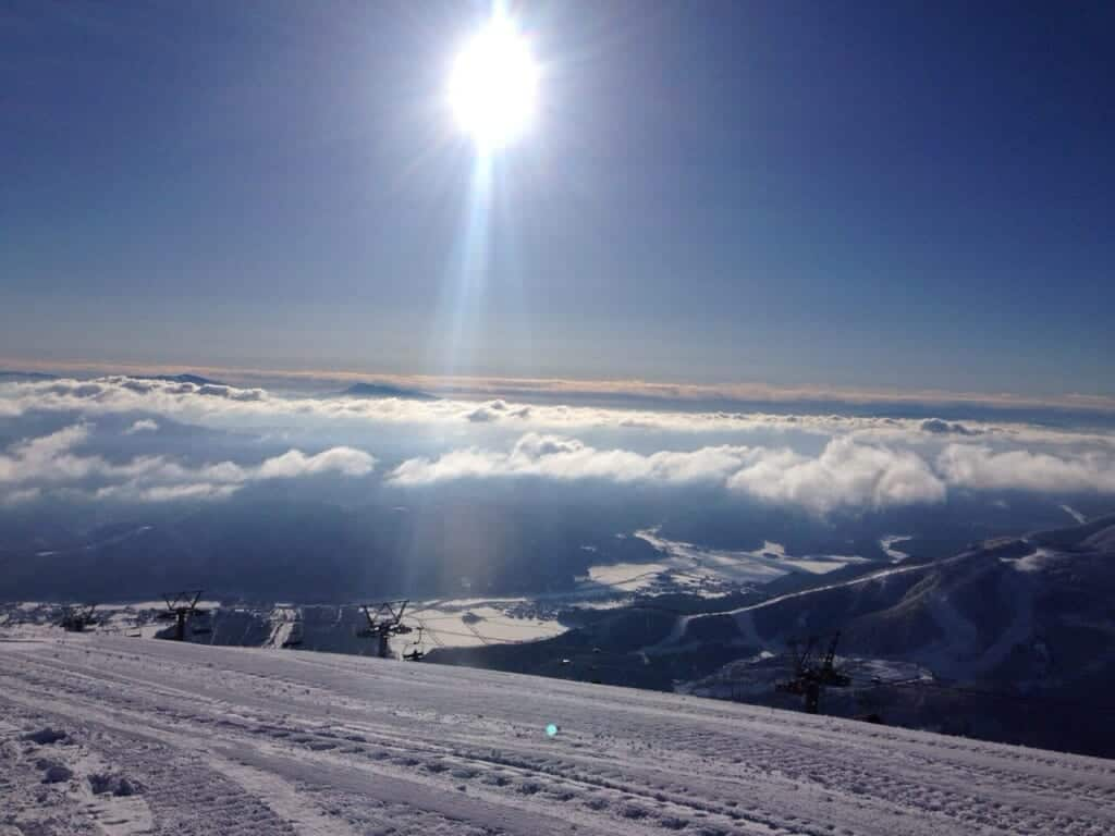 view from above the clouds at Happo One in Nagano, Japan