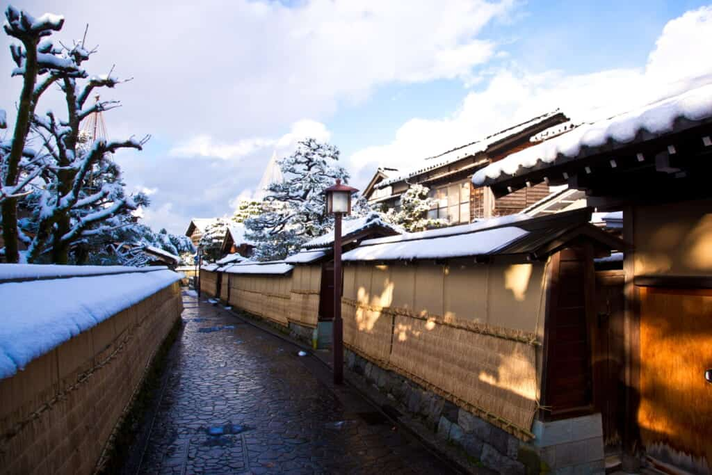 narrow streets covered in snow