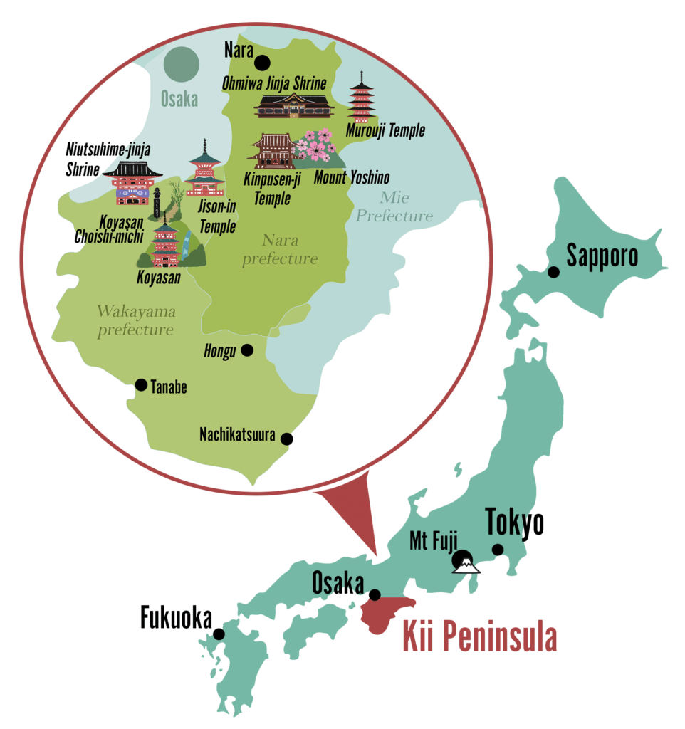 Map of Japan spotlighting the Kii Peninsula and temples and shrines in Nara and Wakayama prefectures