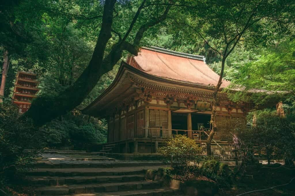 Japanese temple and pagoda in the forest