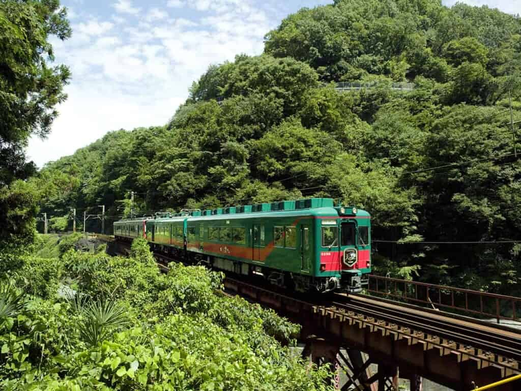Japanese Tenku train going through the forest