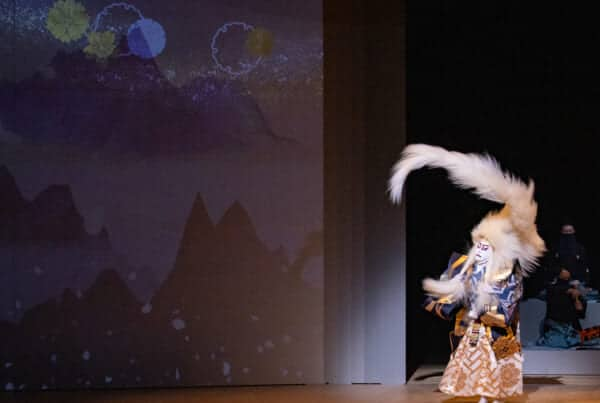 Kabuki lion spirit character dancing on stage