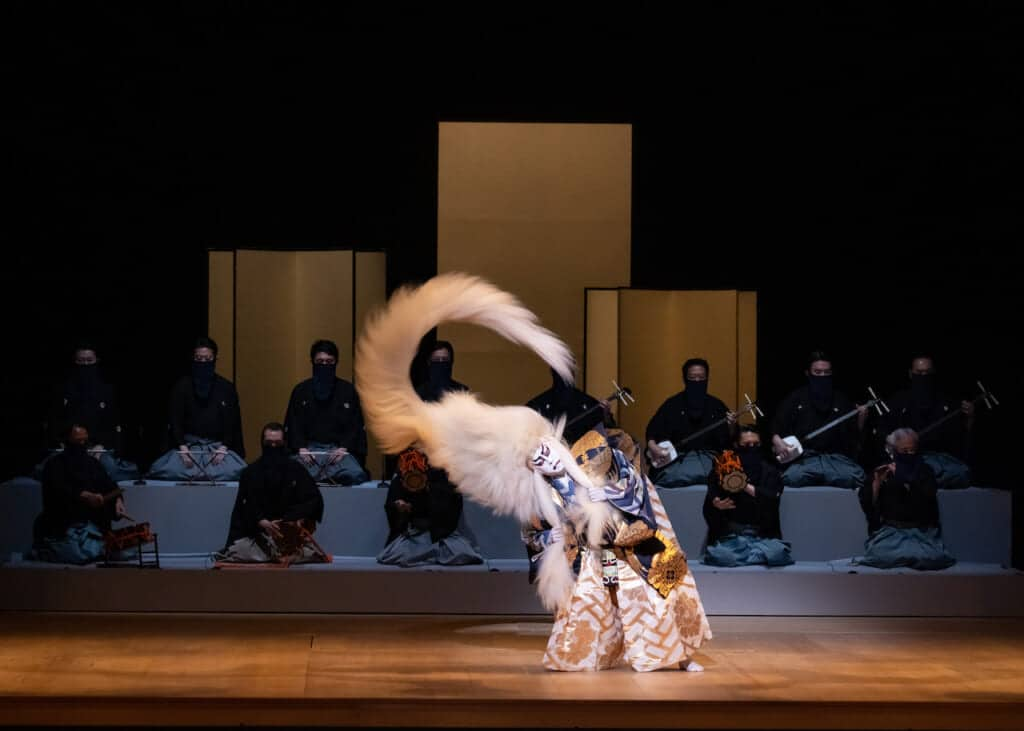 Kabuki lion spirit character dancing on stage