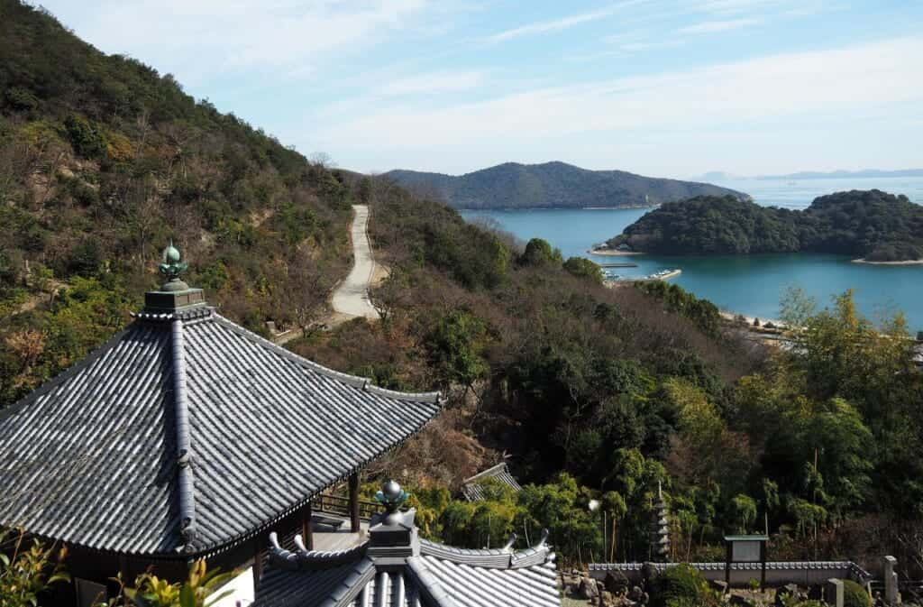 Kannon Hall of Myokenji Temple and views of the seto inland sea in Japan