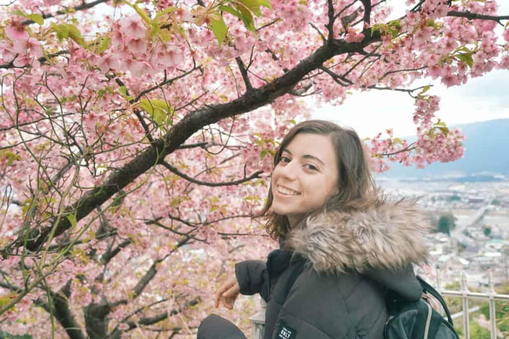 Maria at the sakura cherry blossom Matsuda Festival in Japan