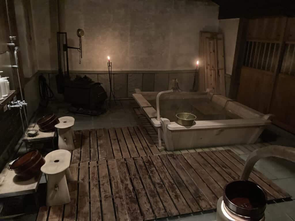 rustic and traditional wooden style bath in japan