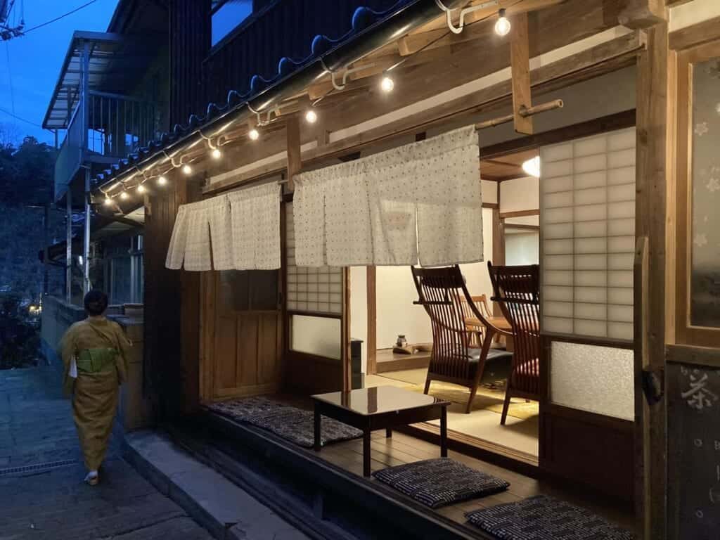 traditional japanese inn and women in kimono in shimane prefecture, japan