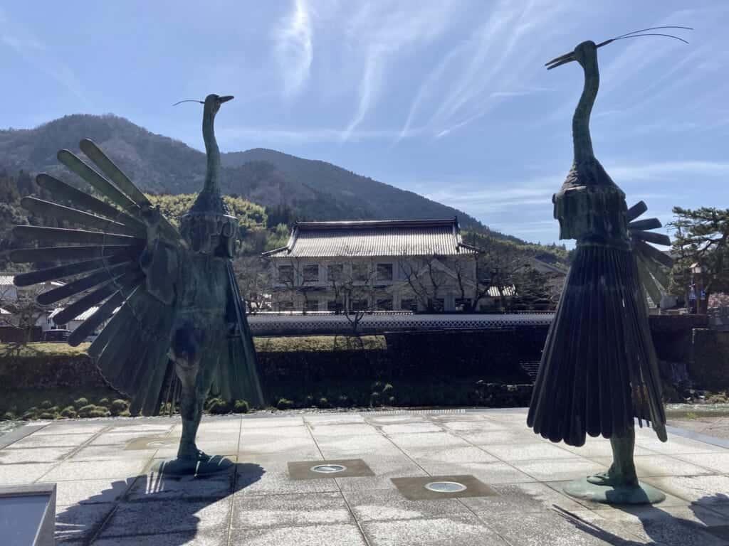 japanese heron statues in shimane, Japan