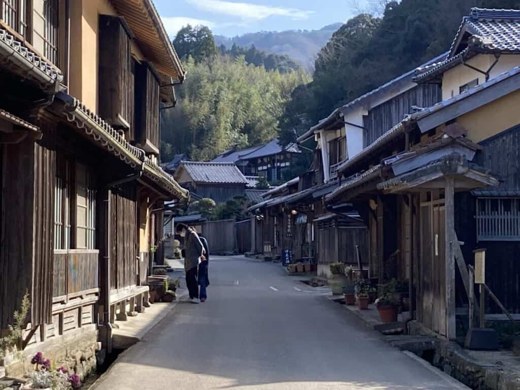 a historic mining town with traditional Japanese buildings and homes in Japan