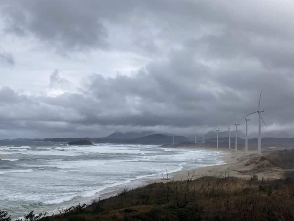 Gotsu wind farm and japan coastline in shimane