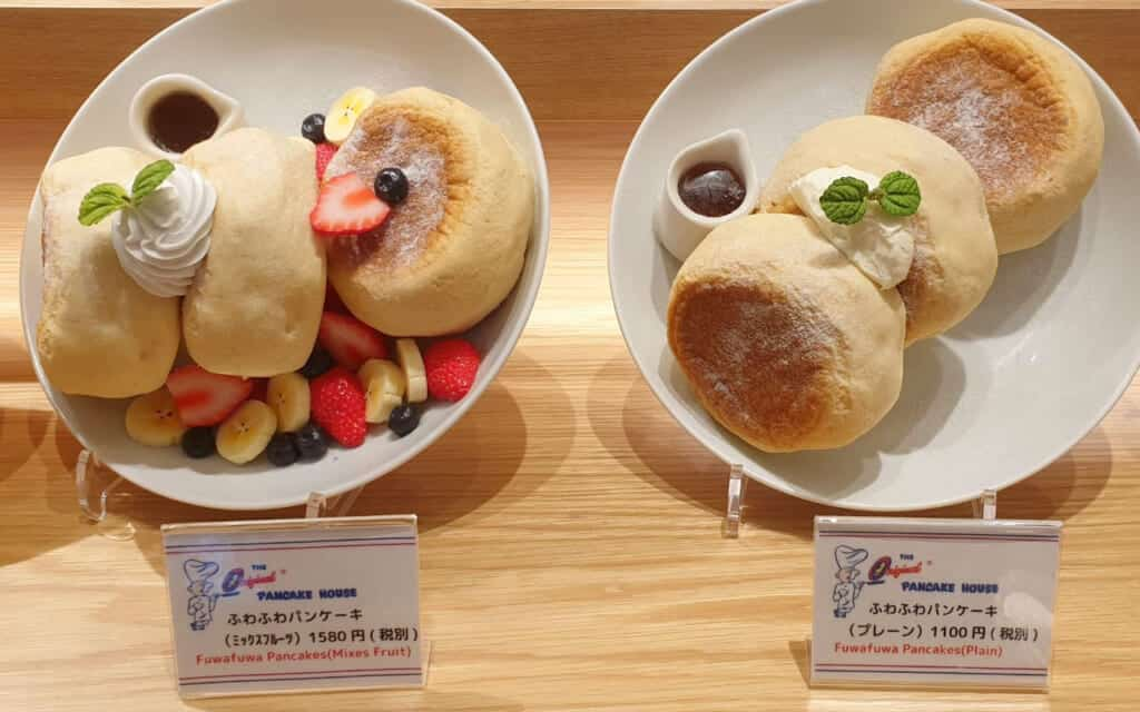 Display at a cafe offering fuwa fuwa Japanese pancakes in a cafe in Japan
