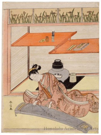 A girl from the Heian Period playing the piano