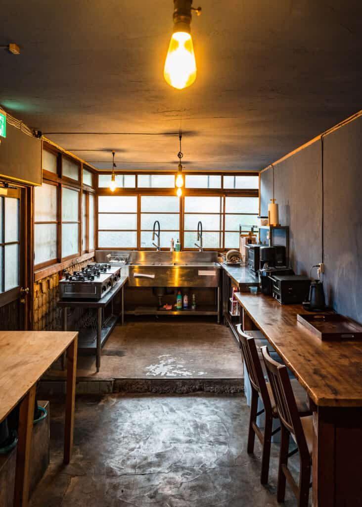 large kitchen in traditional Japanese accommodations at atagoya hamamatsu