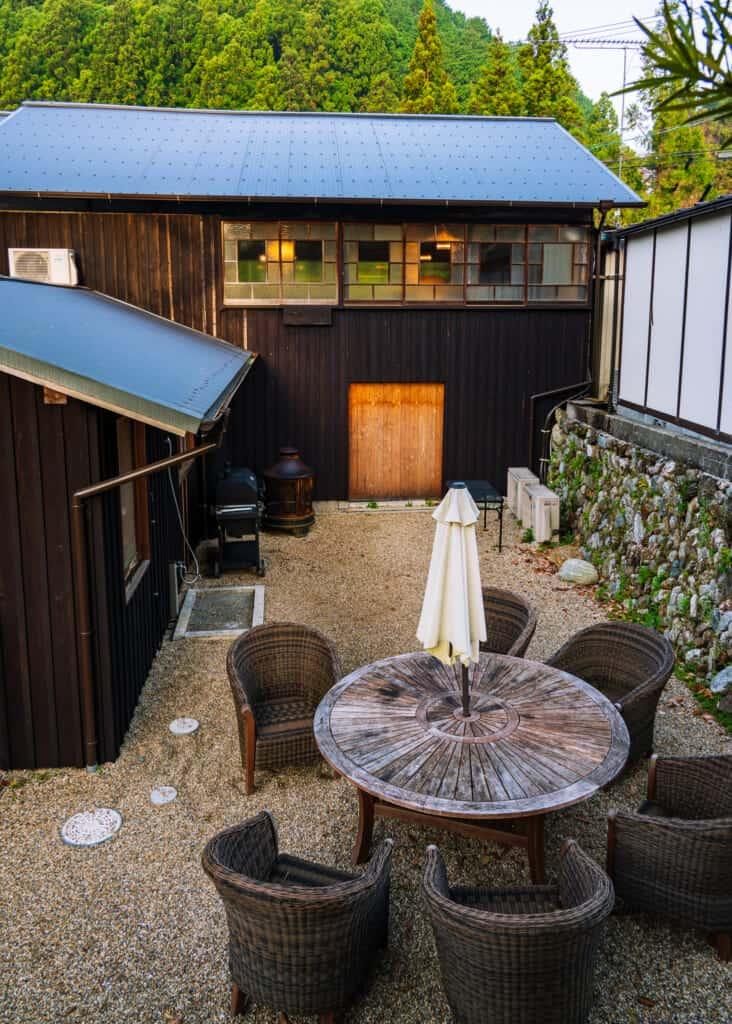 bbq area and outdoor table at atagoya hamamatsu, near tokyo