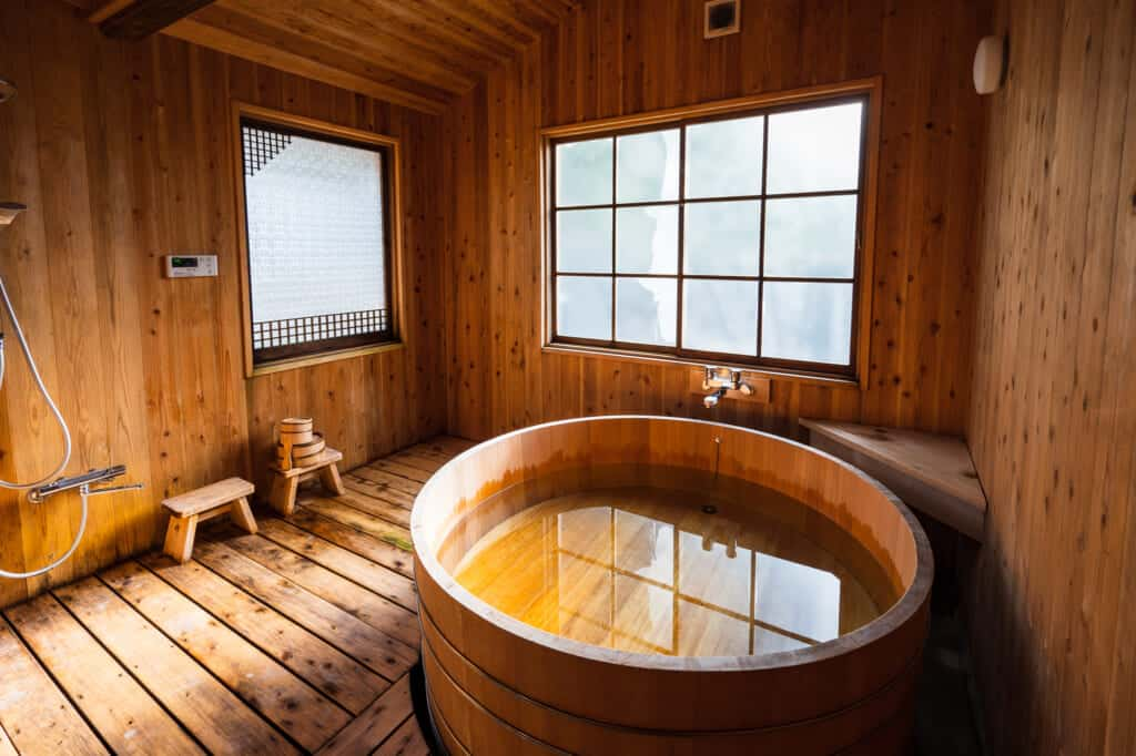 traditional Japanese cypress bath ofuro at atagoya guest house
