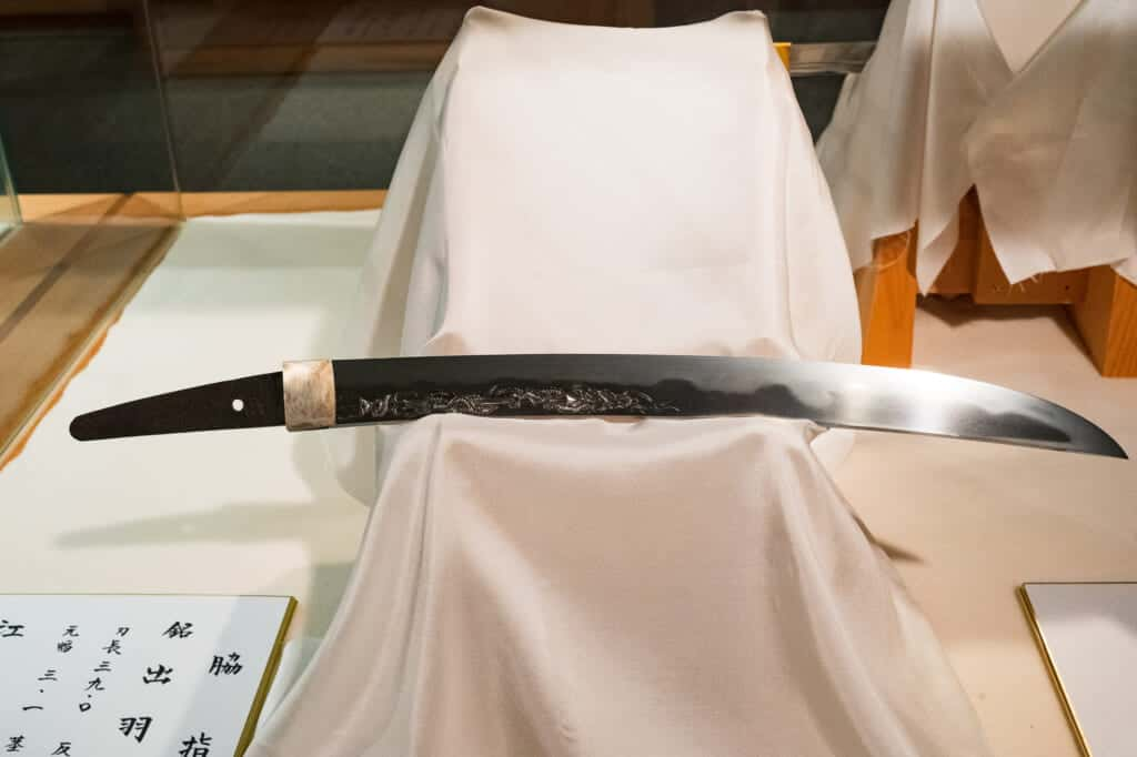 former Japanese katana sword of takeda shingen tiger of kai at akihasan jinja