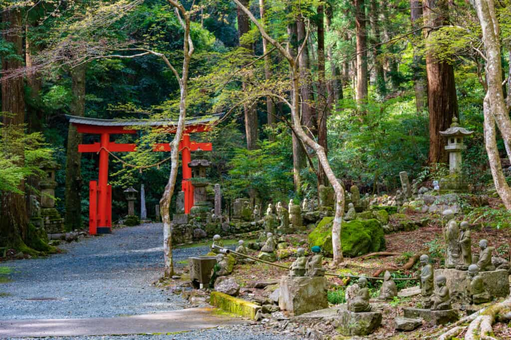 Japanese red torii and buddhist statues at hokoji temple hamamatsu