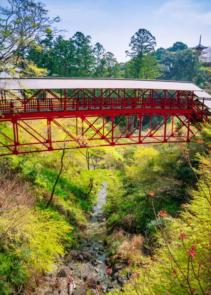 Red bridge across ravine at hokoji temple hamamatsu