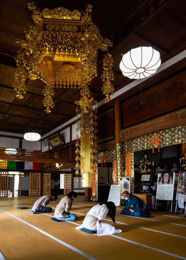 group practices zazen meditation at hokoji temple hamamatsu