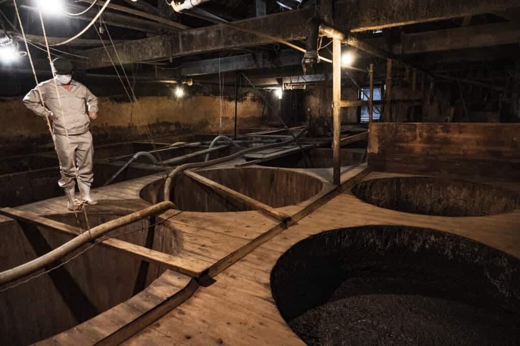 traditional Japanese soy sauce brewing at meijiya shoyu