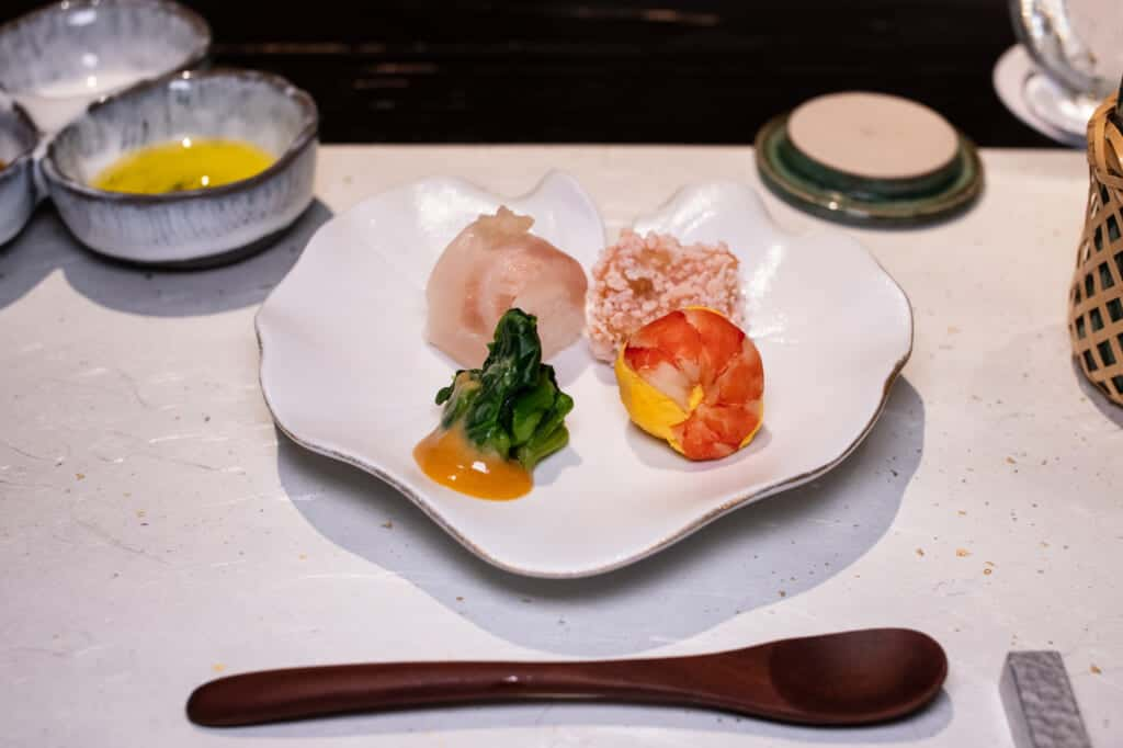 Japanese appetizer for dinner at hoshino resorts kai enshu